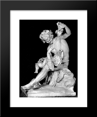 Satyr Plays With Eros:  Modern Black Framed Art Print by Yannoulis Chalepas