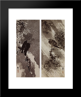 A Black Hawk And Two Crows:  Modern Black Framed Art Print by Yosa Buson