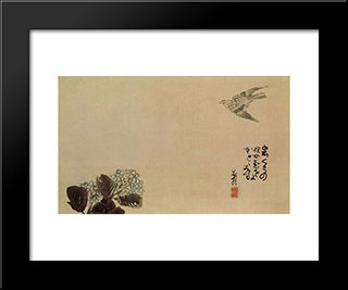 A Little Cuckoo Across A Hydrangea (Haiga):  Modern Black Framed Art Print by Yosa Buson
