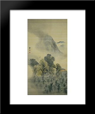 Cuckoo Flying Over New Verdure:  Modern Black Framed Art Print by Yosa Buson