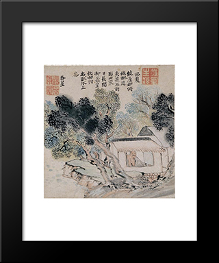 Enjoyment Of Summer Scenery:  Modern Black Framed Art Print by Yosa Buson