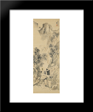 Landscape With A Solitary Traveler:  Modern Black Framed Art Print by Yosa Buson