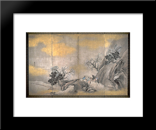 Travelers On Horseback On A Mountain In Spring:  Modern Black Framed Art Print by Yosa Buson
