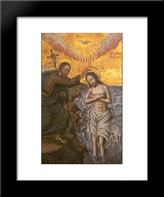 Christ'S Baptism:  Modern Black Framed Art Print by Yov Kondzelevych