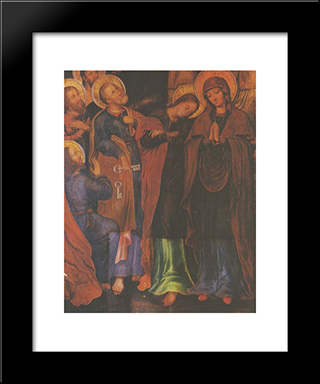 Fragment Of The Icon The Elevation Of Christ Into Heaven From The Maniava Hermitage Iconostasis:  Modern Black Framed Art Print by Yov Kondzelevych