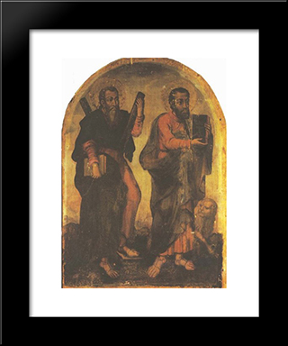 Icon Of Apostles Andrew And Mark:  Modern Black Framed Art Print by Yov Kondzelevych