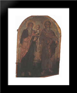 Icon Of Apostles Peter And Matthew:  Modern Black Framed Art Print by Yov Kondzelevych