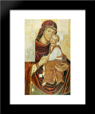 Icon Of The Mother Of God From The Bilostok Monastery Iconostasis:  Modern Black Framed Art Print by Yov Kondzelevych