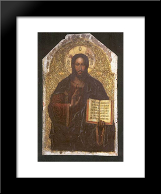 Icon Of The Savior From The Maniava Hermitage Iconostasis1698:  Modern Black Framed Art Print by Yov Kondzelevych