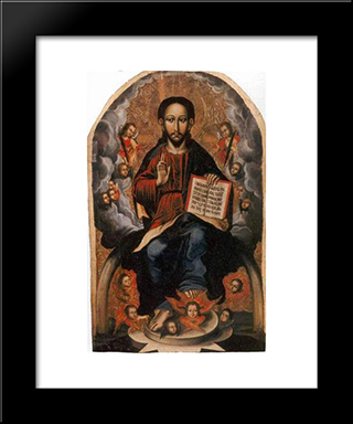 Icon Of The Savior From The Village Of Horodyshche In Volhynia (Late 17Th Century):  Modern Black Framed Art Print by Yov Kondzelevych