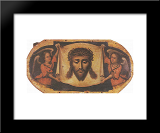 Icon Spas Nerukotvornyi (Savior-Not-Made-By-Hands) From The Maniava Hermitage Iconostasis:  Modern Black Framed Art Print by Yov Kondzelevych