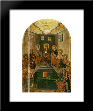 Icon The Descent Of The Holy Spirit:  Modern Black Framed Art Print by Yov Kondzelevych