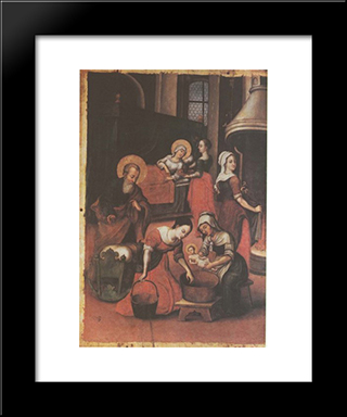 Icon The Nativity Of Virgin Mary (Fragment):  Modern Black Framed Art Print by Yov Kondzelevych