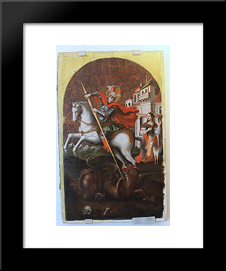 Saint George:  Modern Black Framed Art Print by Yov Kondzelevych