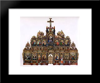 The Maniava Hermitage Iconostasis:  Modern Black Framed Art Print by Yov Kondzelevych
