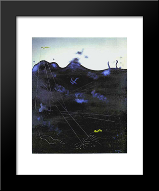 Blue Bed:  Modern Black Framed Art Print by Yves Tanguy