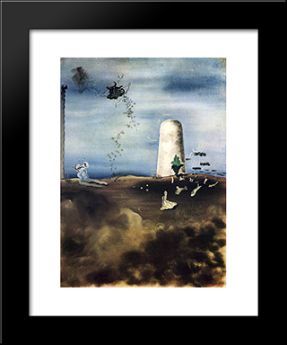 Death Awaiting His Family:  Modern Black Framed Art Print by Yves Tanguy