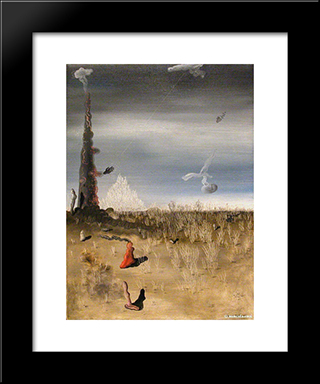 Extinction Of Useless Lights: Custom Black Wood Framed Art Print by Yves Tanguy