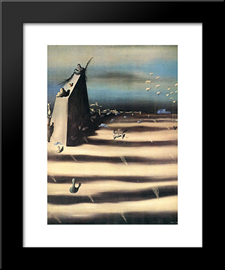 Large Painting Representing A Landscape:  Modern Black Framed Art Print by Yves Tanguy