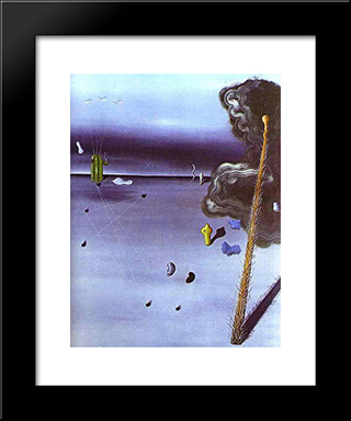 Mama, Papa Is Wounded!:  Modern Black Framed Art Print by Yves Tanguy