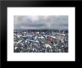 Multiplicatiion Of The Arcs:  Modern Black Framed Art Print by Yves Tanguy