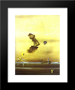 Outside:  Modern Black Framed Art Print by Yves Tanguy