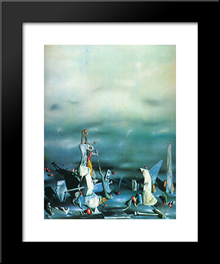 Palace On Windows Rocks: Custom Black Wood Framed Art Print by Yves Tanguy