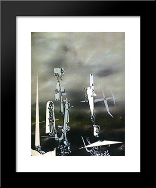 Phantoms:  Modern Black Framed Art Print by Yves Tanguy