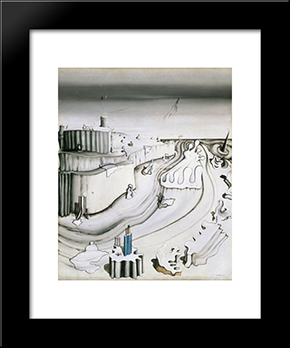 Promontory Palace:  Modern Black Framed Art Print by Yves Tanguy