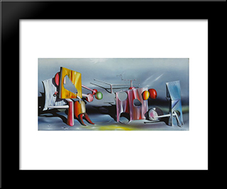 Reply To Red:  Modern Black Framed Art Print by Yves Tanguy