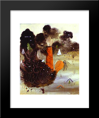 The Hand In The Clouds:  Modern Black Framed Art Print by Yves Tanguy