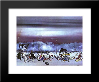 The Ribbon Of Extremes:  Modern Black Framed Art Print by Yves Tanguy