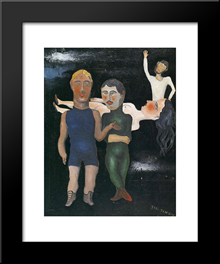 The Travelling Performers:  Modern Black Framed Art Print by Yves Tanguy