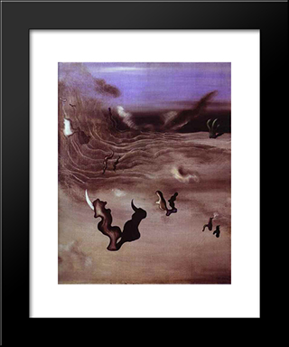 Wind:  Modern Black Framed Art Print by Yves Tanguy