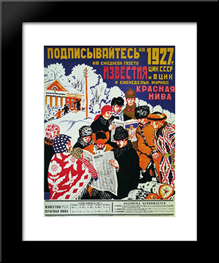 Subscribe To 1927 The Daily Newspaper Izvestia Ussr Central Executive Committee:  Modern Black Framed Art Print by Boris Kustodiev