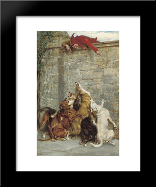 Aggravation:  Modern Black Framed Art Print by Briton Riviere