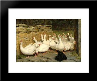 An Anxious Moment:  Modern Black Framed Art Print by Briton Riviere