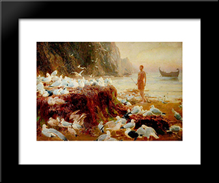 An Old World Wanderer:  Modern Black Framed Art Print by Briton Riviere