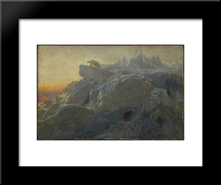 Beyond Man'S Footsteps:  Modern Black Framed Art Print by Briton Riviere