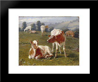 Calves In A Meadow:  Modern Black Framed Art Print by Briton Riviere