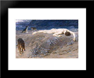 Dead Hector:  Modern Black Framed Art Print by Briton Riviere