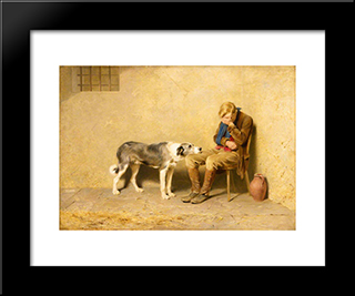 Fidelity:  Modern Black Framed Art Print by Briton Riviere