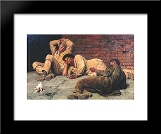 Giants At Play:  Modern Black Framed Art Print by Briton Riviere