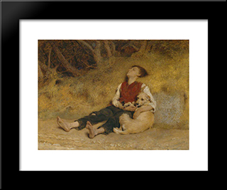 His Only Friend:  Modern Black Framed Art Print by Briton Riviere