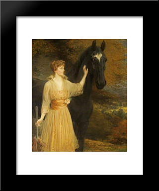 Lady Roundway Of Devizes, Wiltshire:  Modern Black Framed Art Print by Briton Riviere