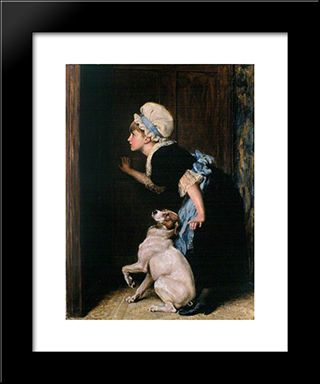Mother Hubbard:  Modern Black Framed Art Print by Briton Riviere
