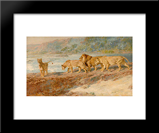 On The Bank Of An African River:  Modern Black Framed Art Print by Briton Riviere