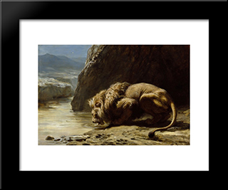 The King Drinks:  Modern Black Framed Art Print by Briton Riviere