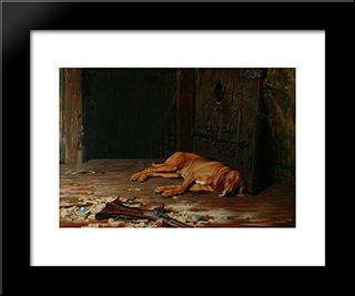 The Last Of The Garrison:  Modern Black Framed Art Print by Briton Riviere