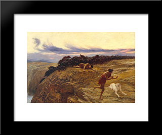 The Miracle Of The Gaderene Swine:  Modern Black Framed Art Print by Briton Riviere